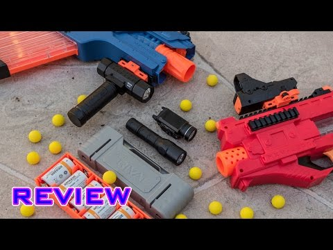 [REVIEW] Nerf Rival Accessories   Red Dot Sight. Tactical Flashlight. & Rechargeable Battery!