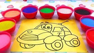 Nhạc Thiếu Nhi! Đồ Chơi Trẻ Em TÔ MÀU TRANH CÁT XE Ô TÔ Colored Sand Painting