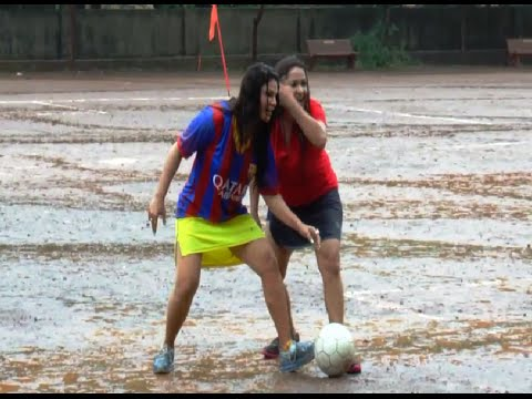 Rakhi Sawant Playing Football In Rains With School Kids. video