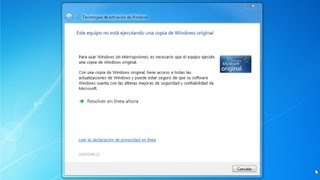 Solucionar problema Este equipo no está ejecutando una copia de Windows origina Windows 7