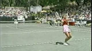 Chris Evert defeats Martina Navratilova 6-0 6-0 in the 1981 Amelia Island final