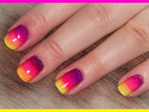 Neon Rainbow/Ombre Nails for Summer - Nail Tutorial