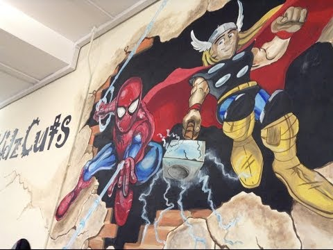 MINIONS, SPIDERMAN THOR SUPER HERO SQUAD MURAL BY drews wonder walls !!!