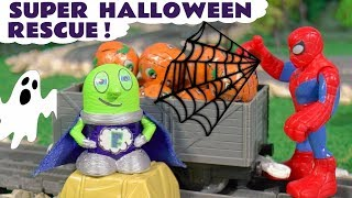 Funny Funlings Super Funling and Spiderman Halloween Candy Rescue with ghosts and pumpkins TT4U