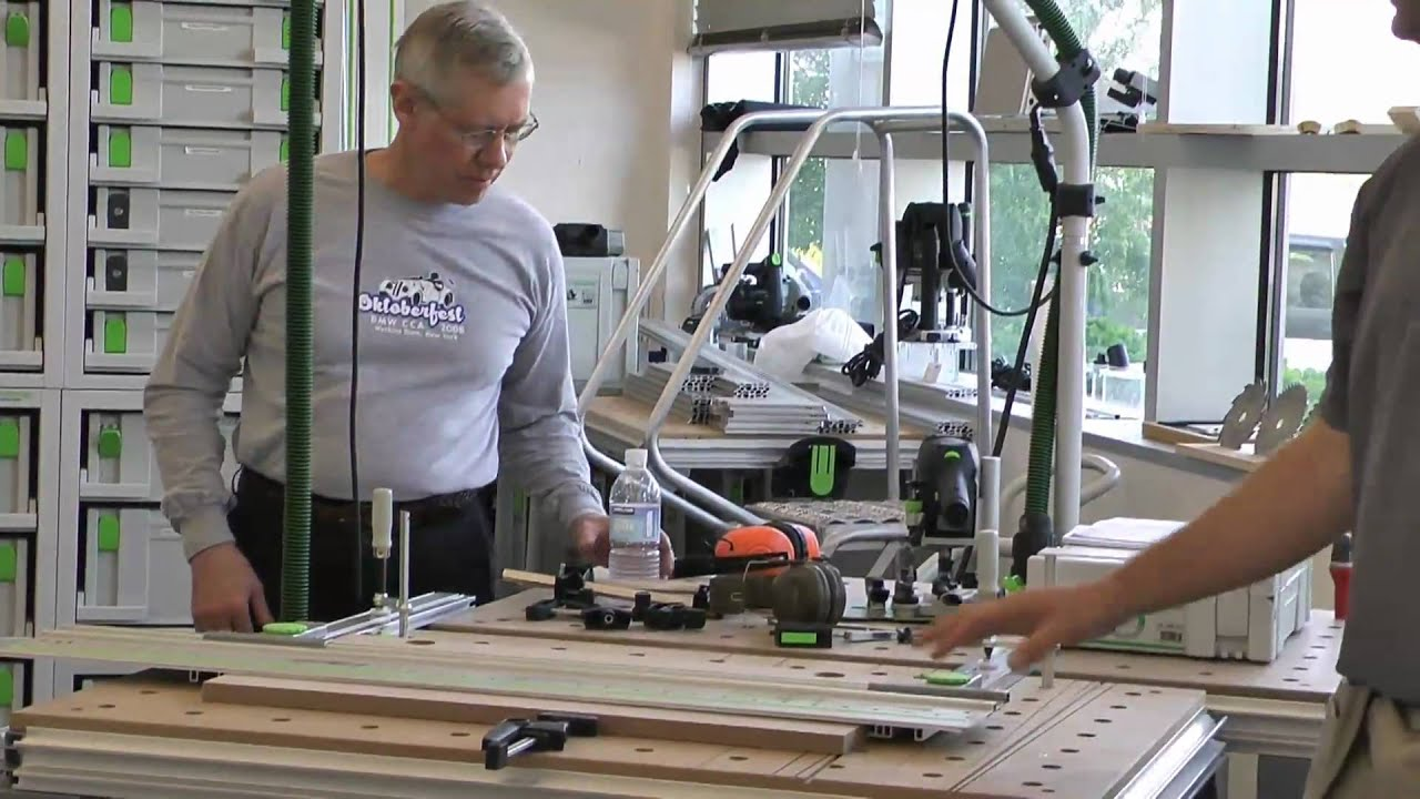 Festool Parallel Guide And Lr32 Guide Rail Used As A Jig