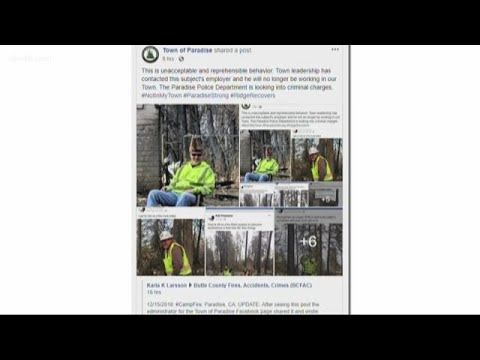 Offensive photos surface showing crane operator disrespecting fire victims' property in Paradise