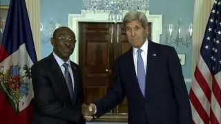 US Secretary Kerry Meets and Haitian Prime Minister Evans Paul in Washington