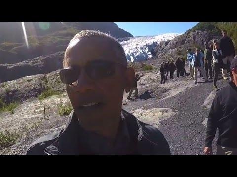 Obama takes selfie with glacier