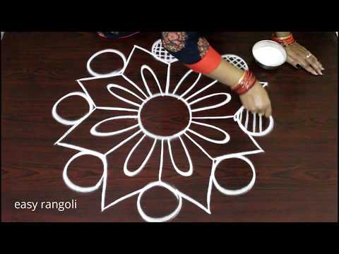 Step by step learning of Kolam without dots by Suneetha - How to draw Rangoli - Muggulu freehand