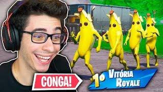 NINGUÉM ENTENDEU! Dançando CONGA o JOGO INTEIRO! Fortnite: Battle Royale