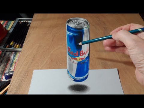 Anamorphic Illusion, Drawing  3D Levitating Red Bull Can