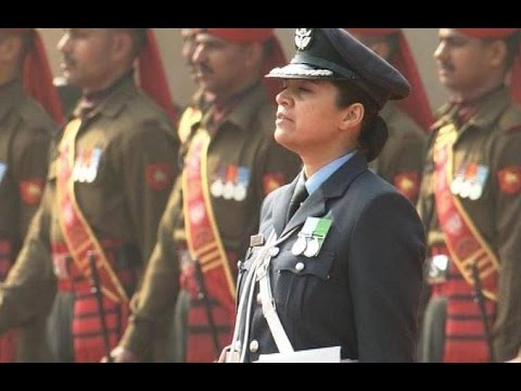 Wing Commander Pooja Thakur leads the Guard of Honour for US President