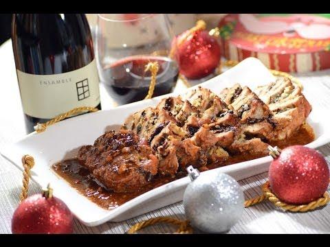 Lomo de cerdo relleno de queso azul y almendras - Recetas de navidad - Pork with bluecheese