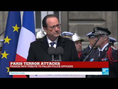 PARIS ATTACKS - Watch French president François Hollande's homage to fallen officers