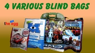 4 Blind Bags Disney Cars Micro Drifters Monsters University HALO StarWars Pods toy opening unboxing