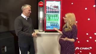 Coca-Cola CEO James Quincey demos the new Arctic Coke cooler