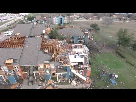 Tornado Damage from the sky Garland tx 2015