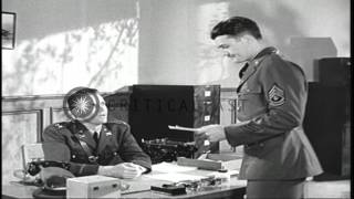 US soldiers are shown a training film on sex hygiene in the War Department Theate...HD Stock Footage