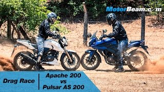 TVS Apache 200 vs Pulsar AS 200 - Drag Race | MotorBeam