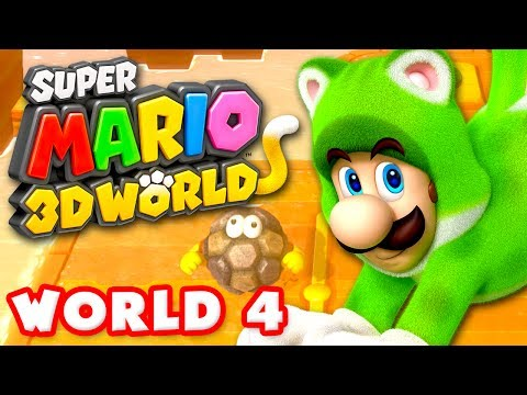 Super Mario 3D World - World 4 100% (Nintendo Wii U Gameplay Walkthrough)