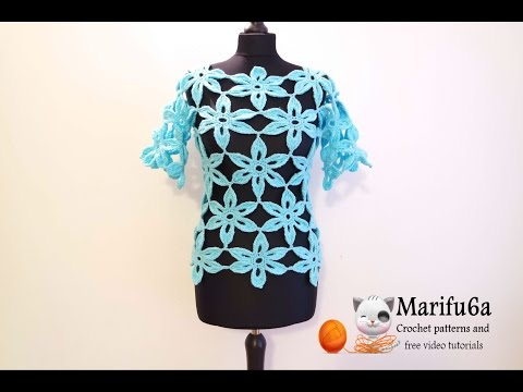 how to crochet flower tunic top sweater free pattern tutorial Music Videos