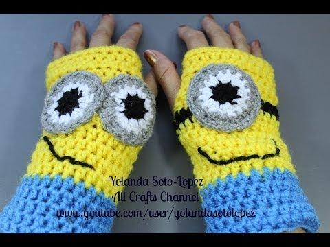 Guantes sin dedos en #Crochet - inspirados por Despicable Me - Minions Music Videos