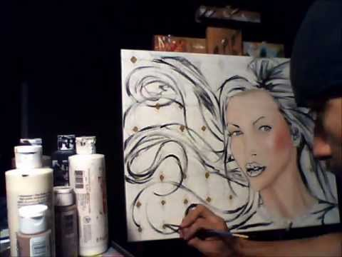 Nikki Benz Acrylic Portrait Painting By Adam Valentino video