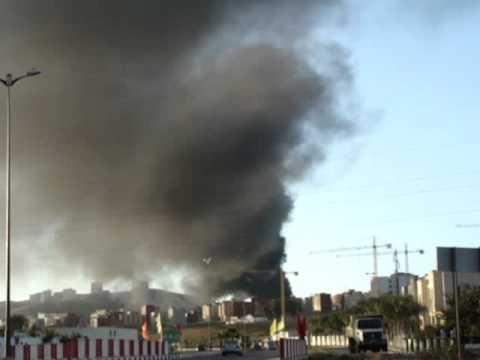دخان كثيف المتصاعد من مطرح النفايات بطنجة