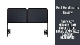 Headboard Review - Queen size Memory Foam Padded Steel Frame Black Faux Leather Headboard