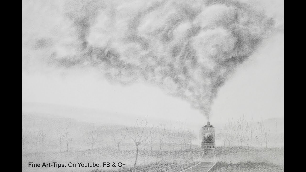 how to draw smoke how to draw a realistic train youtube