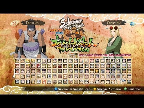 Naruto Shippuden Ultimate Ninja Storm Revolution - Naruto Storm Revolution Menu Seleção de Personagem Character Selection Roster! Unlocked