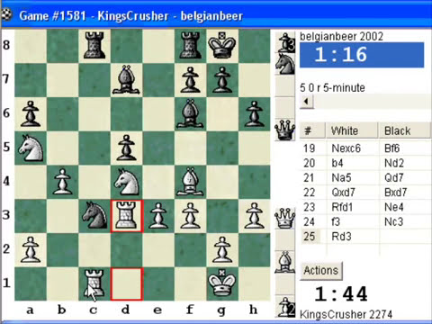 Chess World.net:  Blitz #335 vs. belgianbeer (2002) - QGD: classical variation (5.Bf4) (D37)