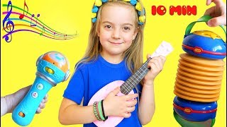 Girl Plays with Disney Toy Guitar and Starts a Band Watermelon pretend play compilation