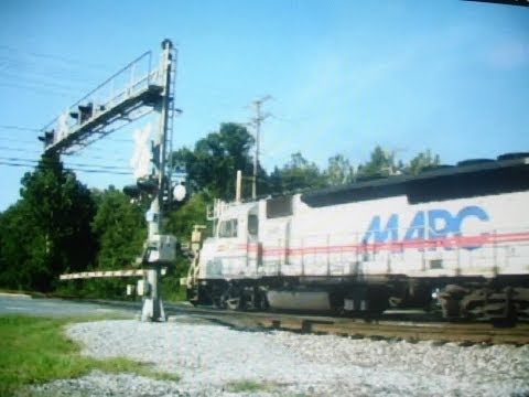 MARC trains crossing Sunnyside Avenue, Beltsville, MD.