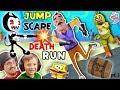 HELLO NEIGHBOR SPONGEBOB DEATHRUN Vs. BENDY & THE INK MACHINE! Krusty Krab FNAF Jump Scares 4 FGTEEV