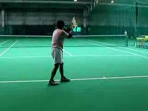20080130恒例早朝テニス サーブ練習じゅんぺいver