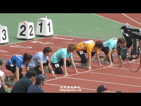[Kyuhyun HD FANCAM] 110827 100 metres hurdles race @ Idol Star Athletics Sports Day (SUPER JUNIOR)