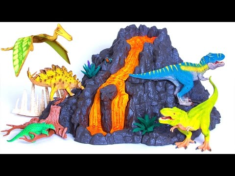 Schleich Giant VOLCANO ERUPTS! 🌋 DIY How To Build Instructions - Dinosaurs - T rex - Toy Review