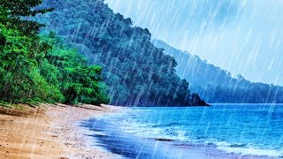 Rain On Beach White Noise Tropical Rainstorm Ocean Waves Sounds For Sleep Studying Relaxation