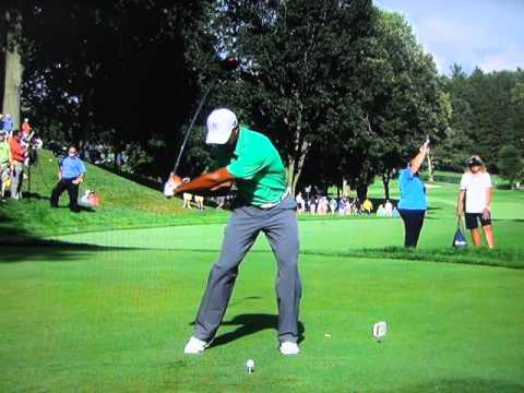 Tiger Woods Drives the Par-4 14th at Oak Hill - 2013 PGA Championship