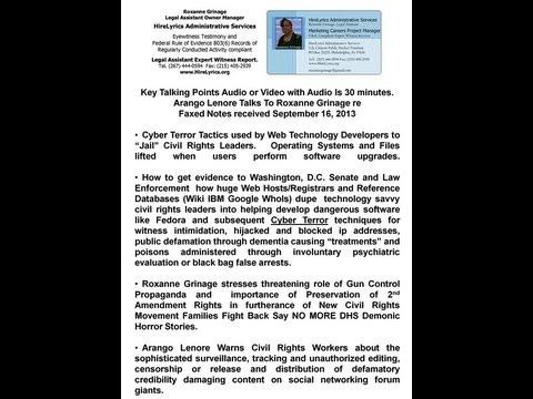 Arango Lenore Tells Roxanne Grinage Publish Cyber Terror Tactics Jail Civil Rights Leaders