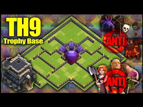 BEST UNBEATABLE TH9 [Town Hall 9] TROPHY BASE! w/ Replays Anti Air. Anti Ground - Clash Of Clans