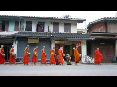 Tak Bat, daily alms giving, dawn, Luang Prabang, Laos