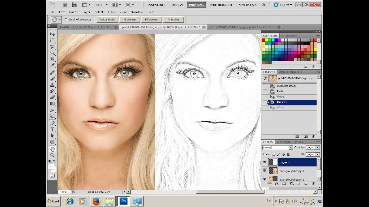 Photoshop Tutorial-Convert Photo To Line Drawing تحويل ...