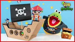 Ryan's World Figures Pretend Play Pirate Ship Adventure Toys