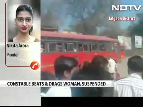 Policeman caught on camera thrashing woman in Maharashtra's Jalgaon