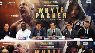 Dillian Whyte vs. Joseph Parker PRESS CONFERENCE (HD) with Eddie Hearn & David Higgens.