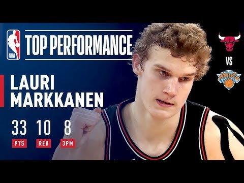 Lauri Markkanen Scores 33, Hits 8 Threes (Ties Bulls Rookie Record) | January 10, 2018