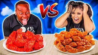 SPICY WINGS VS EXTRA SPICY WINGS FOOD CHALLENGE 🌶
