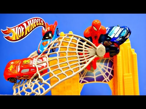 Ultimate Spiderman Hot Wheels Mega Drop Track Cars 2 Superheroes Power Rangers Play Doh